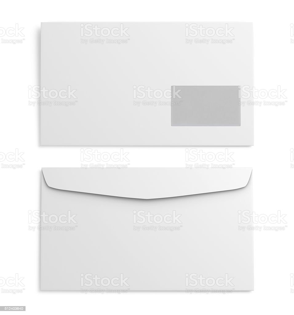 Two white paper envelope on white background. 3d rendering stock photo