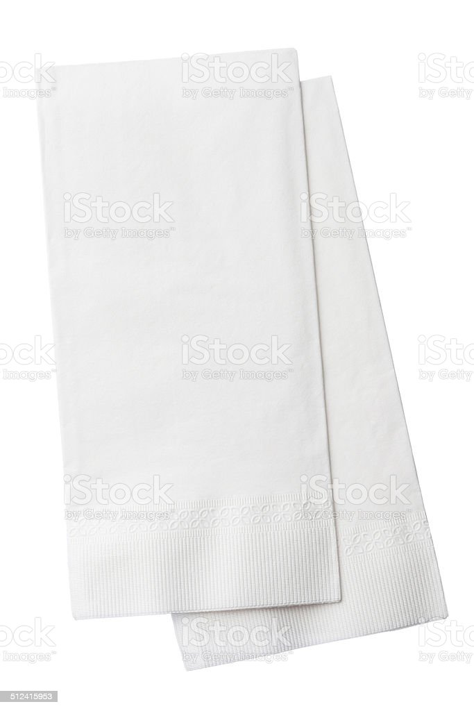 Two White Paper Napkins Isolated on White Background stock photo