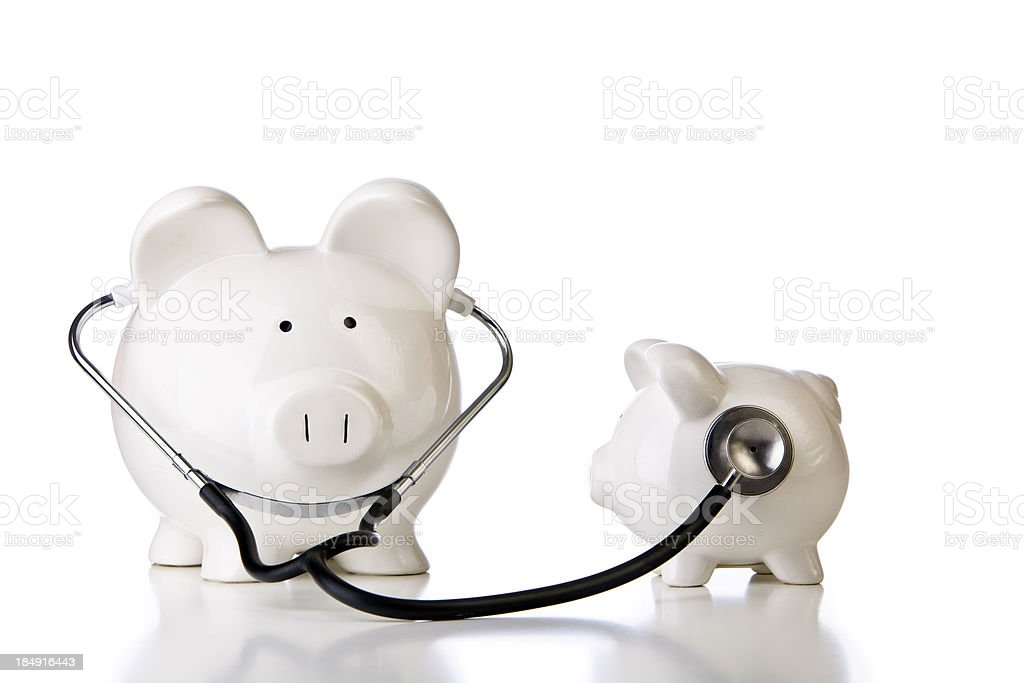 Two White Piggy Banks Financial Check up royalty-free stock photo