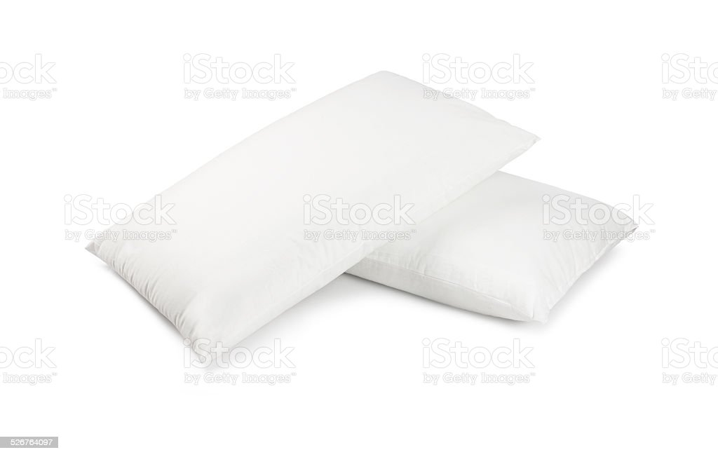 Two white pillows stock photo