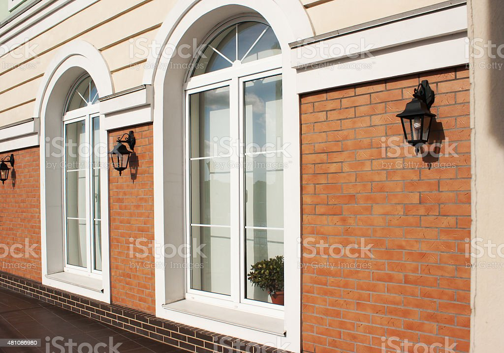 two white plastic windows stock photo