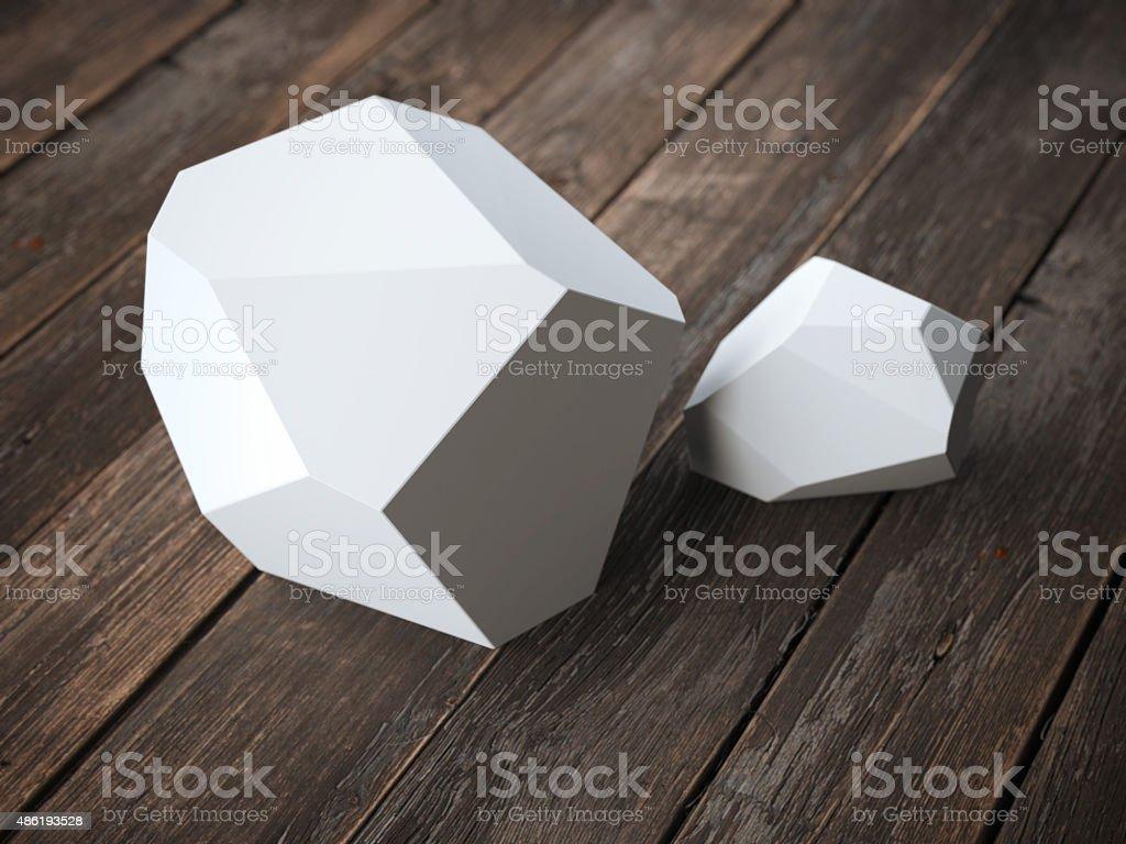 Two white polyhedron stock photo