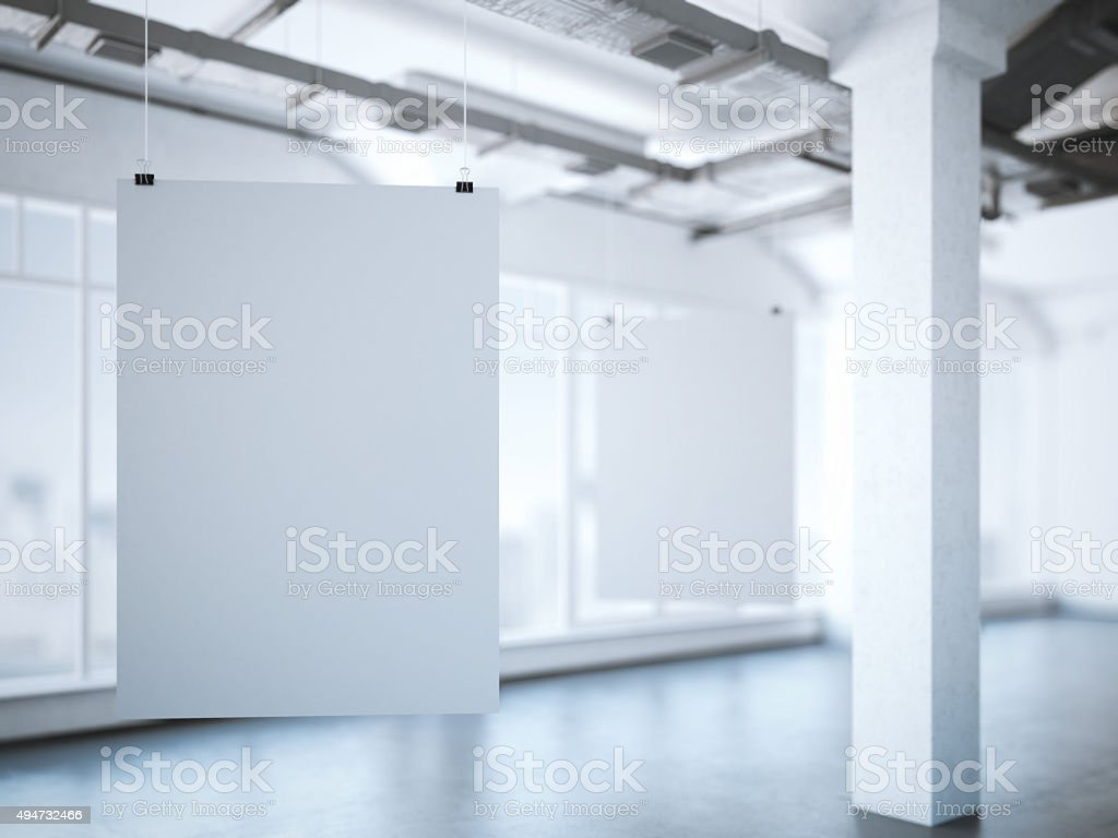 Two white posters in a modern loft. 3d rendering stock photo