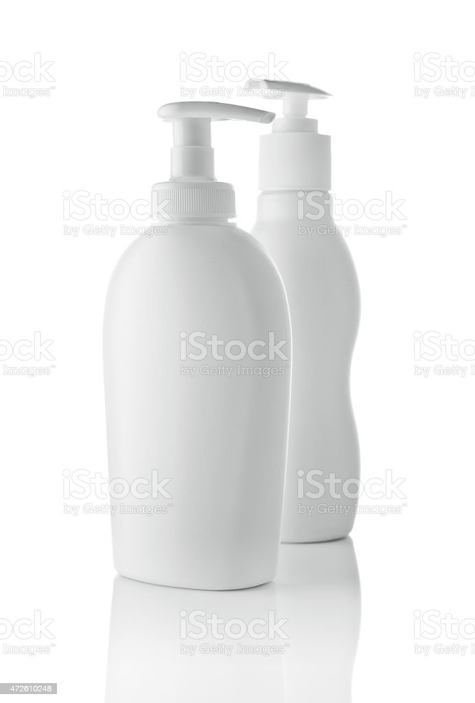 two white spray bottle stock photo