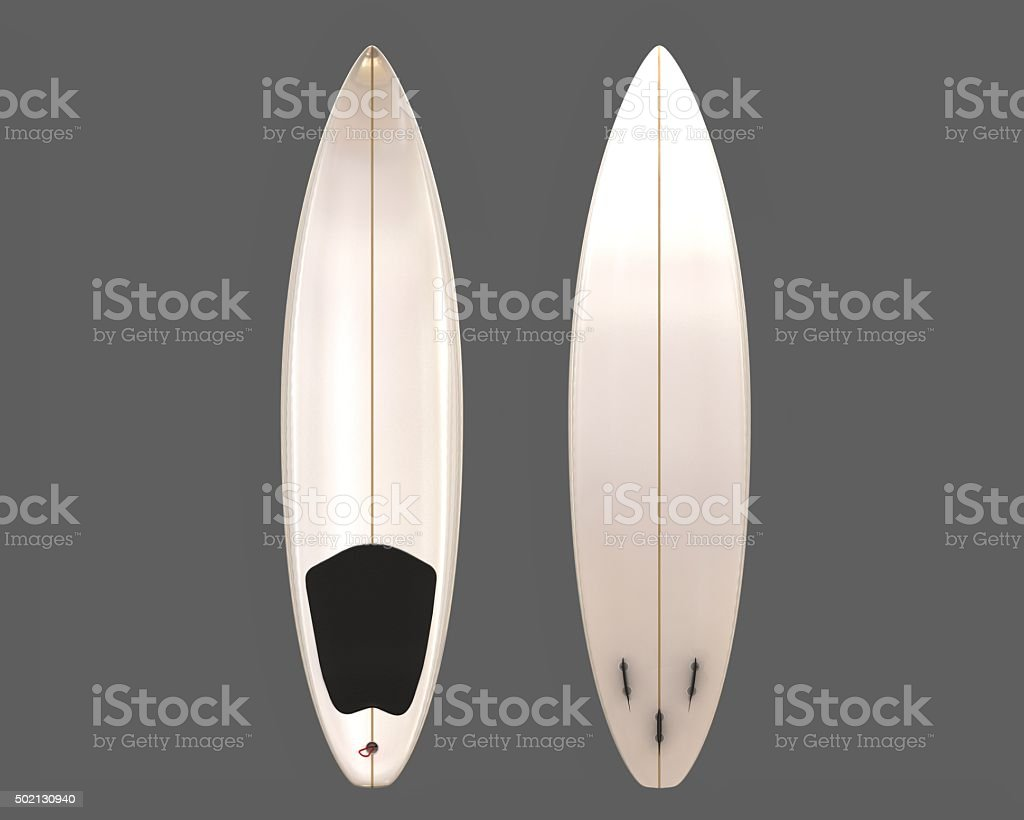 Two white surfboards, front and bottom on grey background stock photo