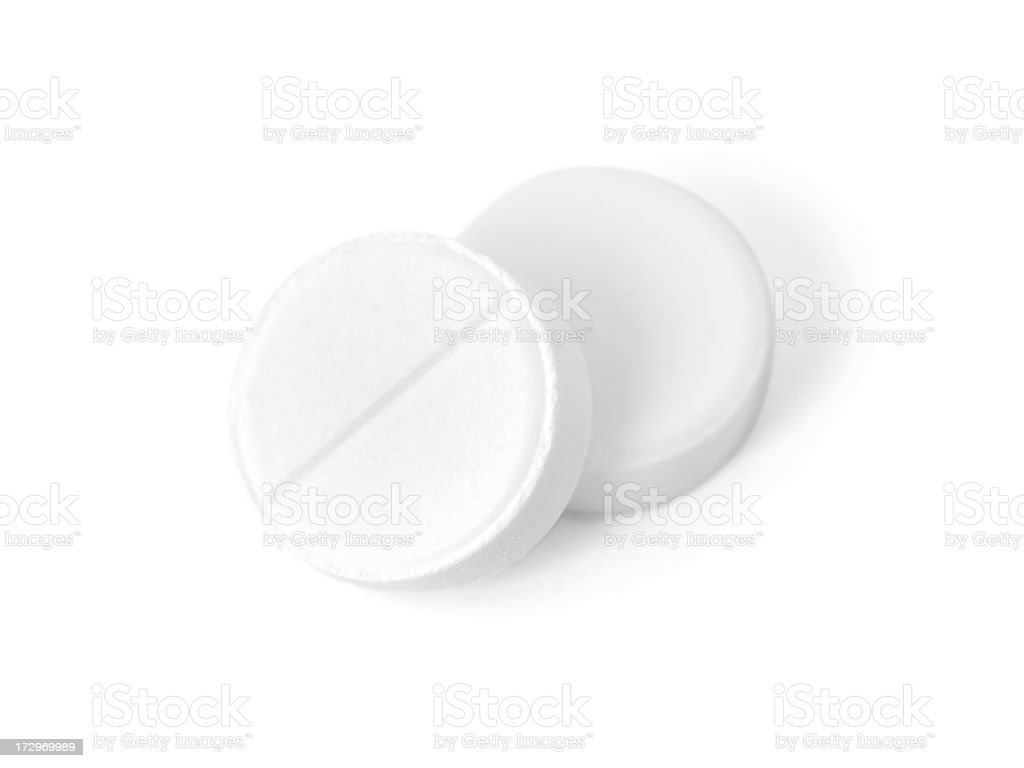 Two white tablets stock photo
