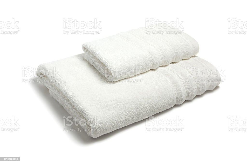 Two white towels folded and placed on each other royalty-free stock photo