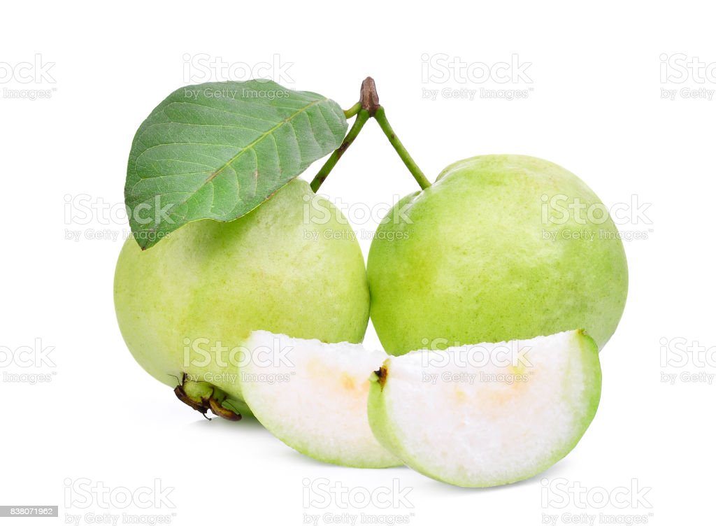 two whole and slice of guava fruit with green leaf isolated on white background stock photo