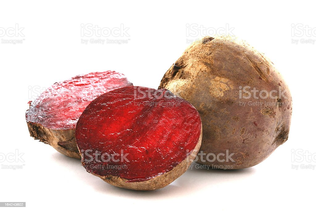 Two whole beetroots also called red beet on white background royalty-free stock photo