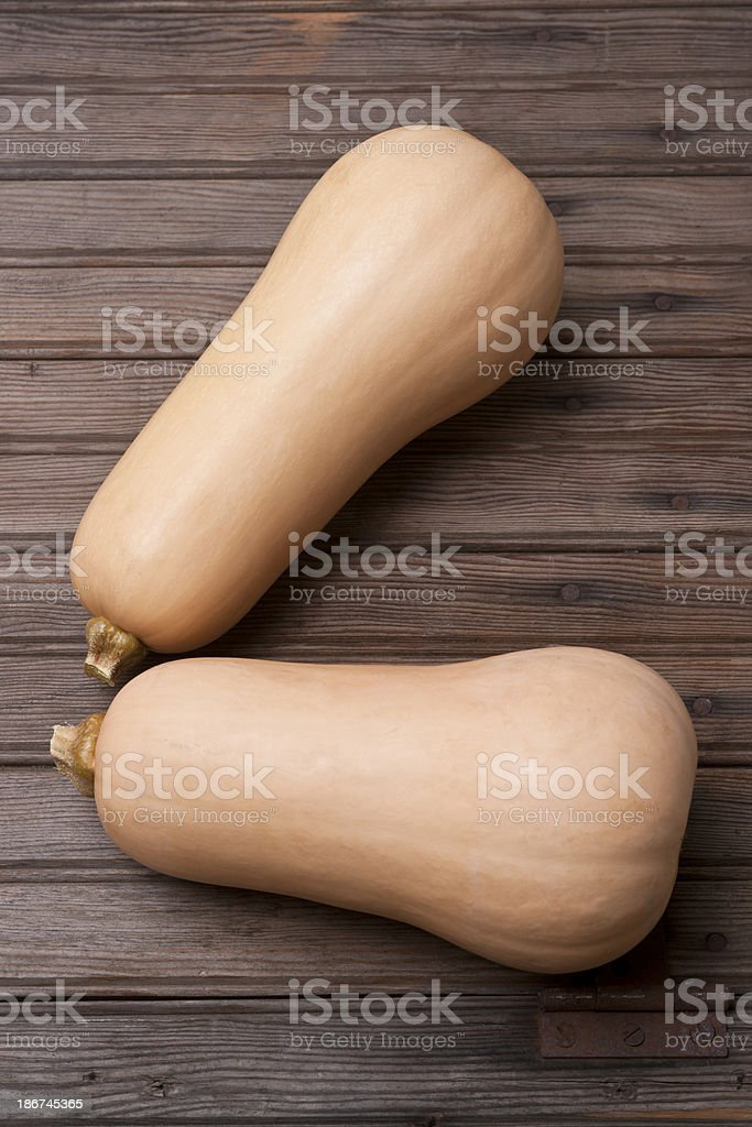 Two Whole Butternut Squash royalty-free stock photo