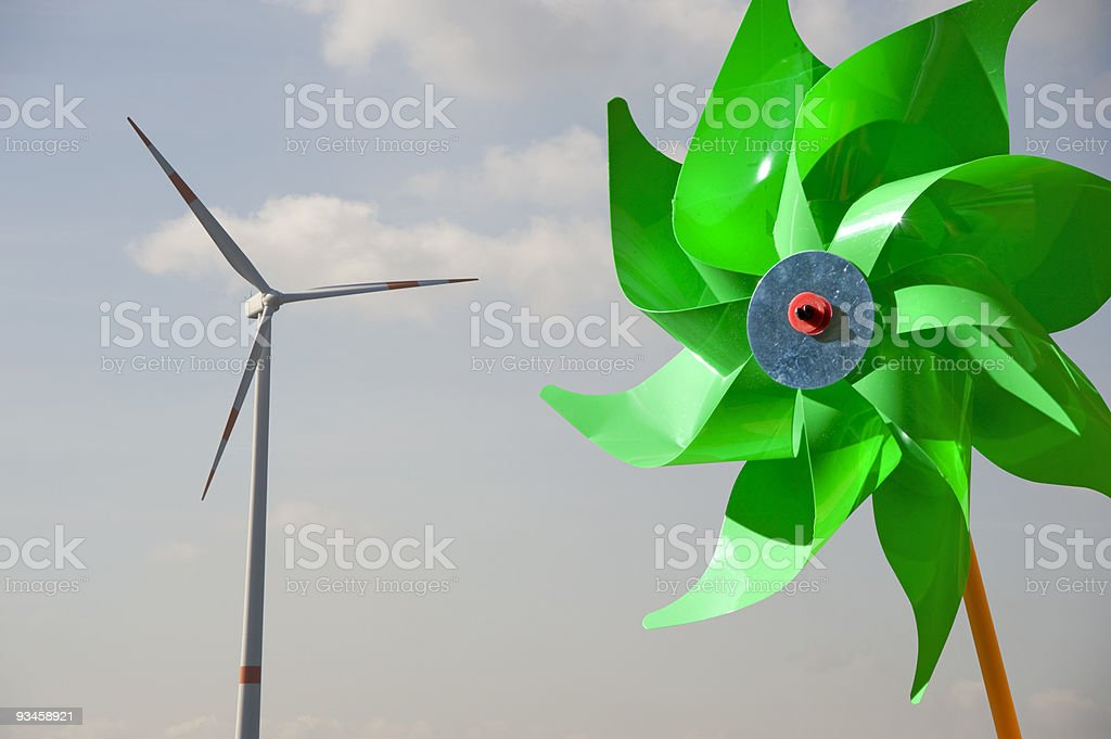 Two windmills stock photo