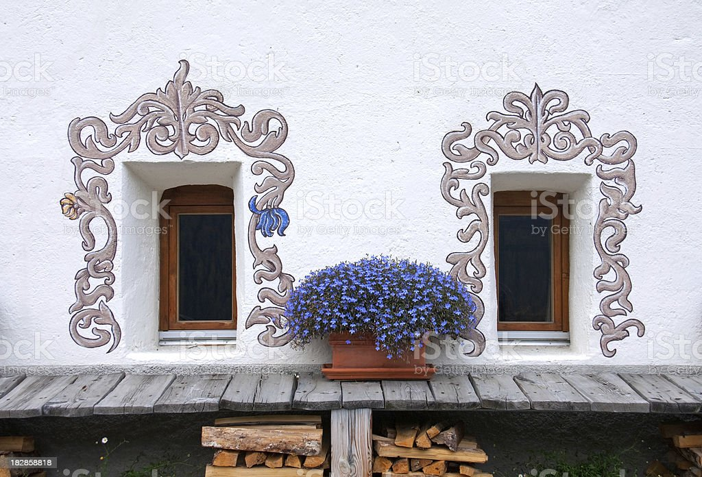 Two windows, Fenster mit Blumen royalty-free stock photo