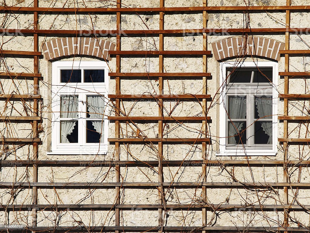 two windows in a house royalty-free stock photo