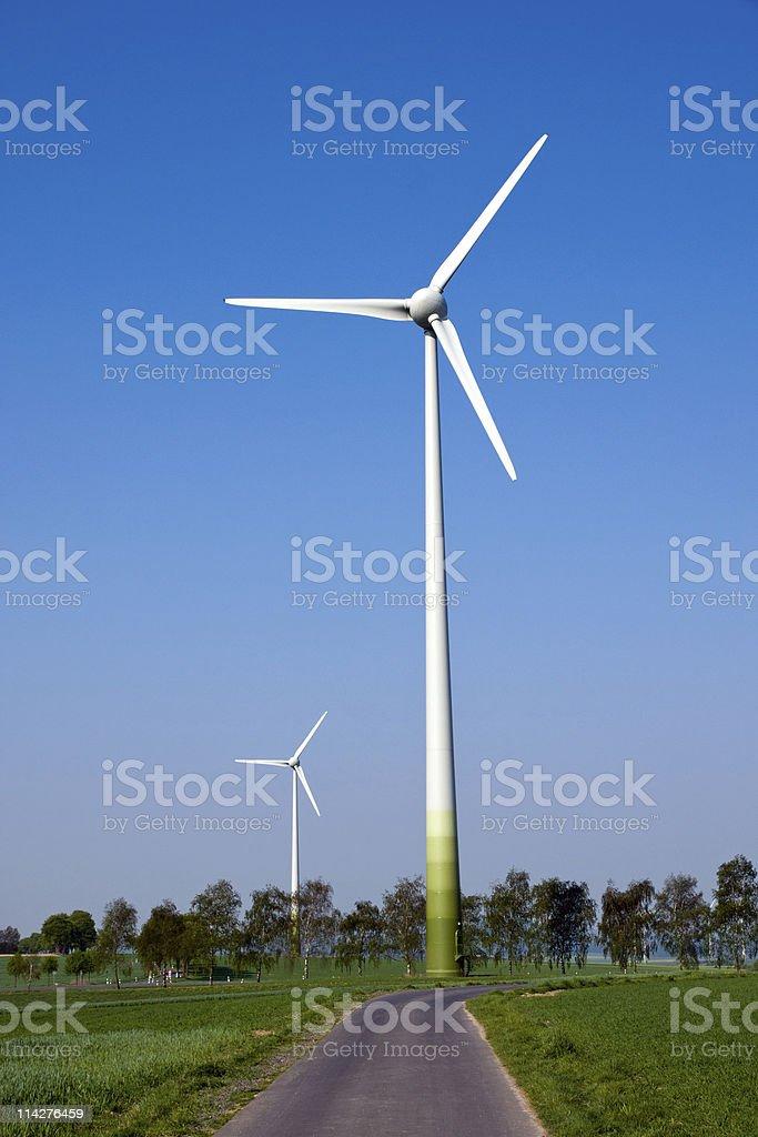 Two windwheels stock photo
