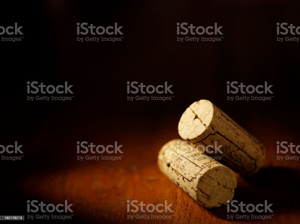 Two Wine Bottle Corks royalty-free stock photo