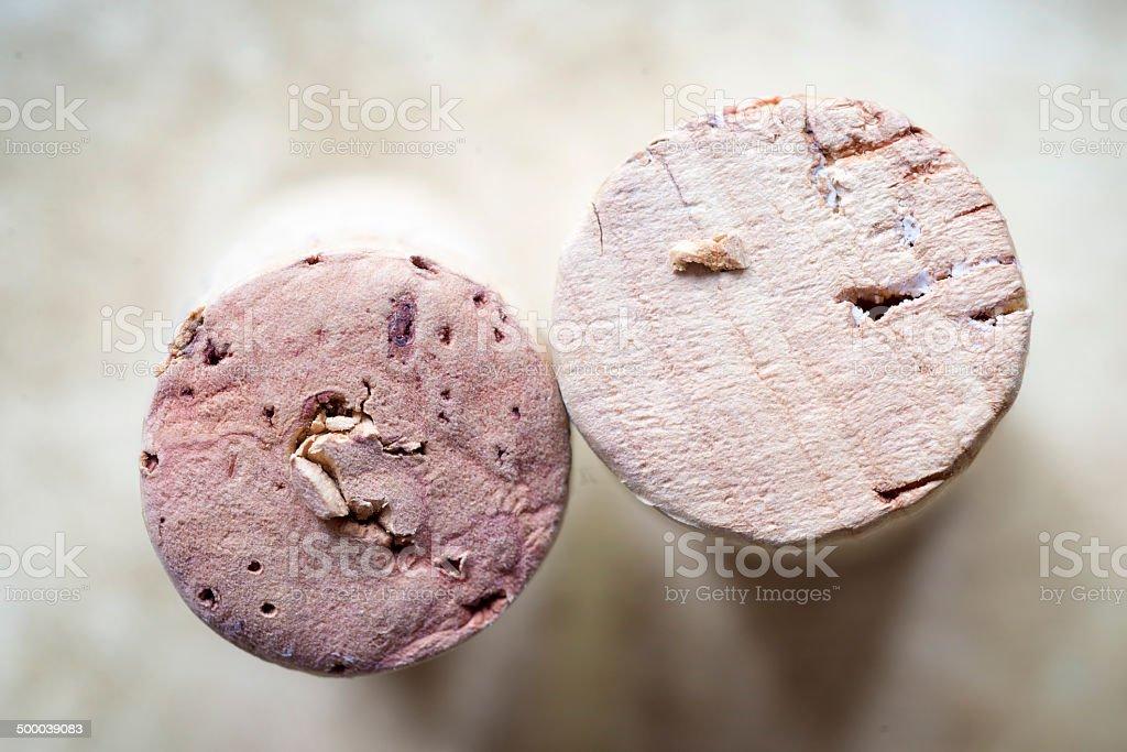 two wine corks stock photo
