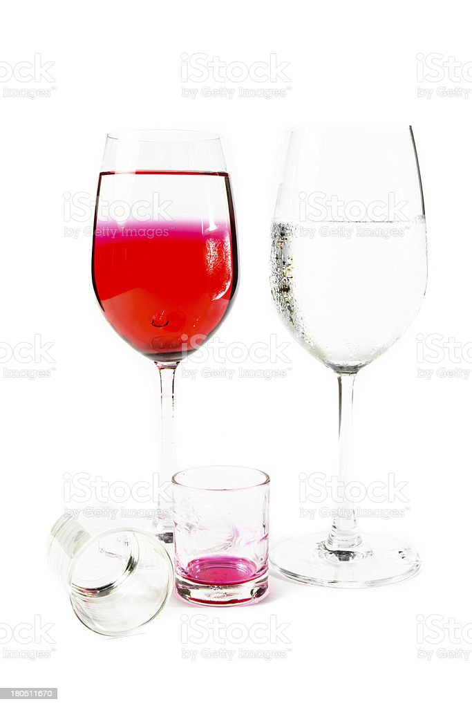 two wine glass and small dishware royalty-free stock photo