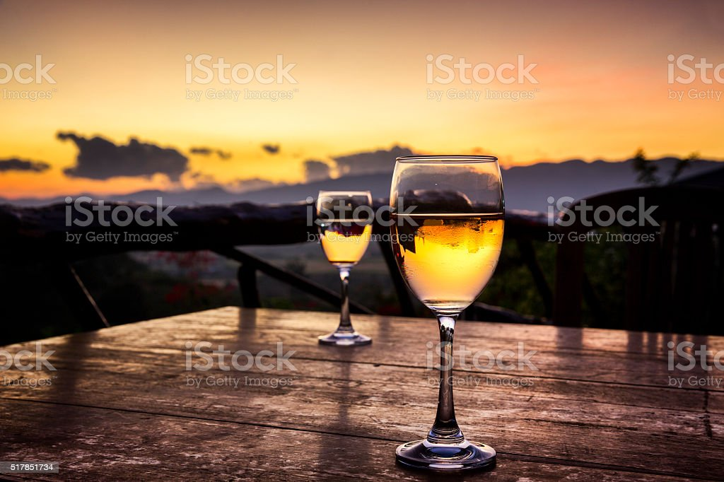 Two Wine Glasses with Landscape Background stock photo