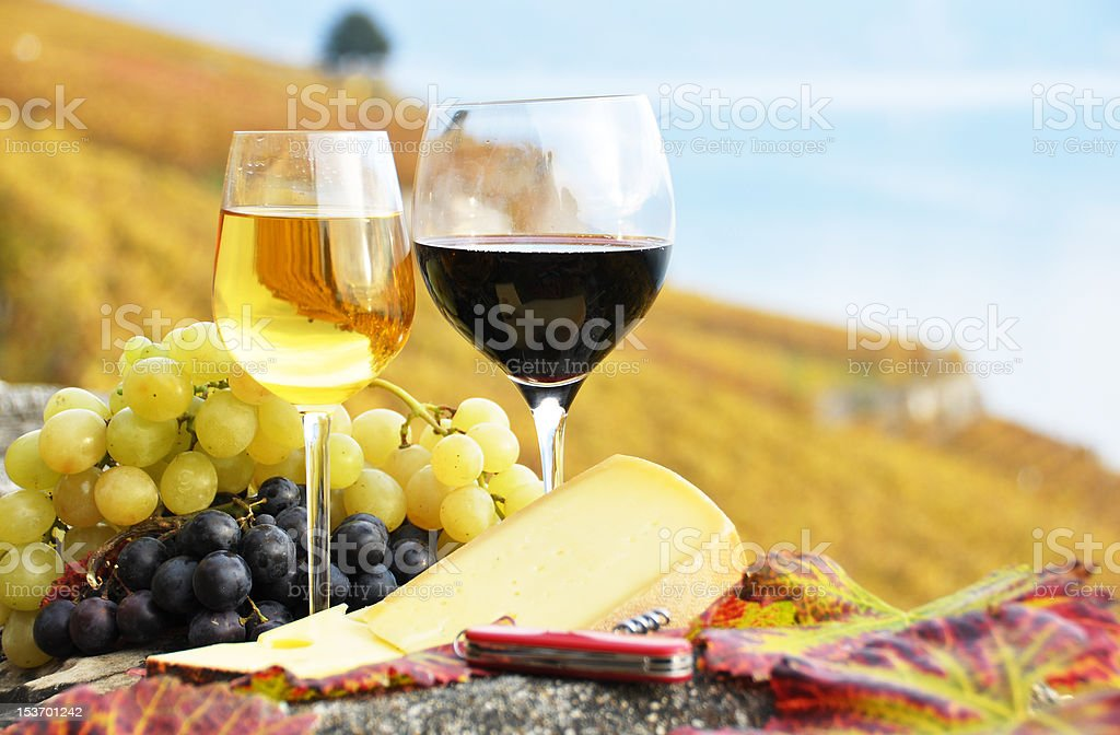 Two wineglasses, cheese and grapes stock photo