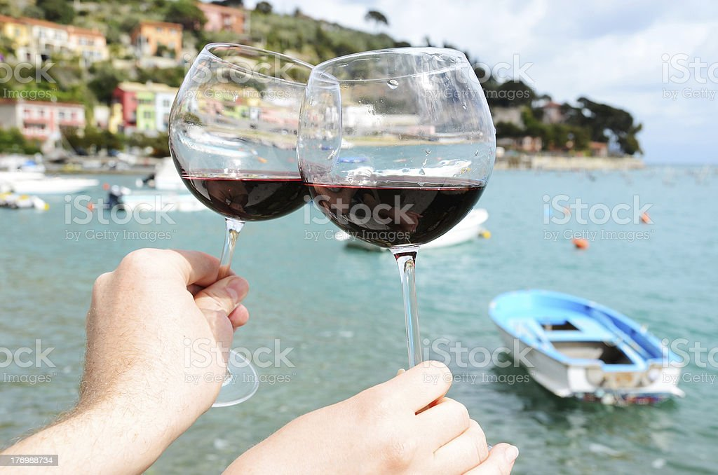 Two wineglasses in the hands royalty-free stock photo