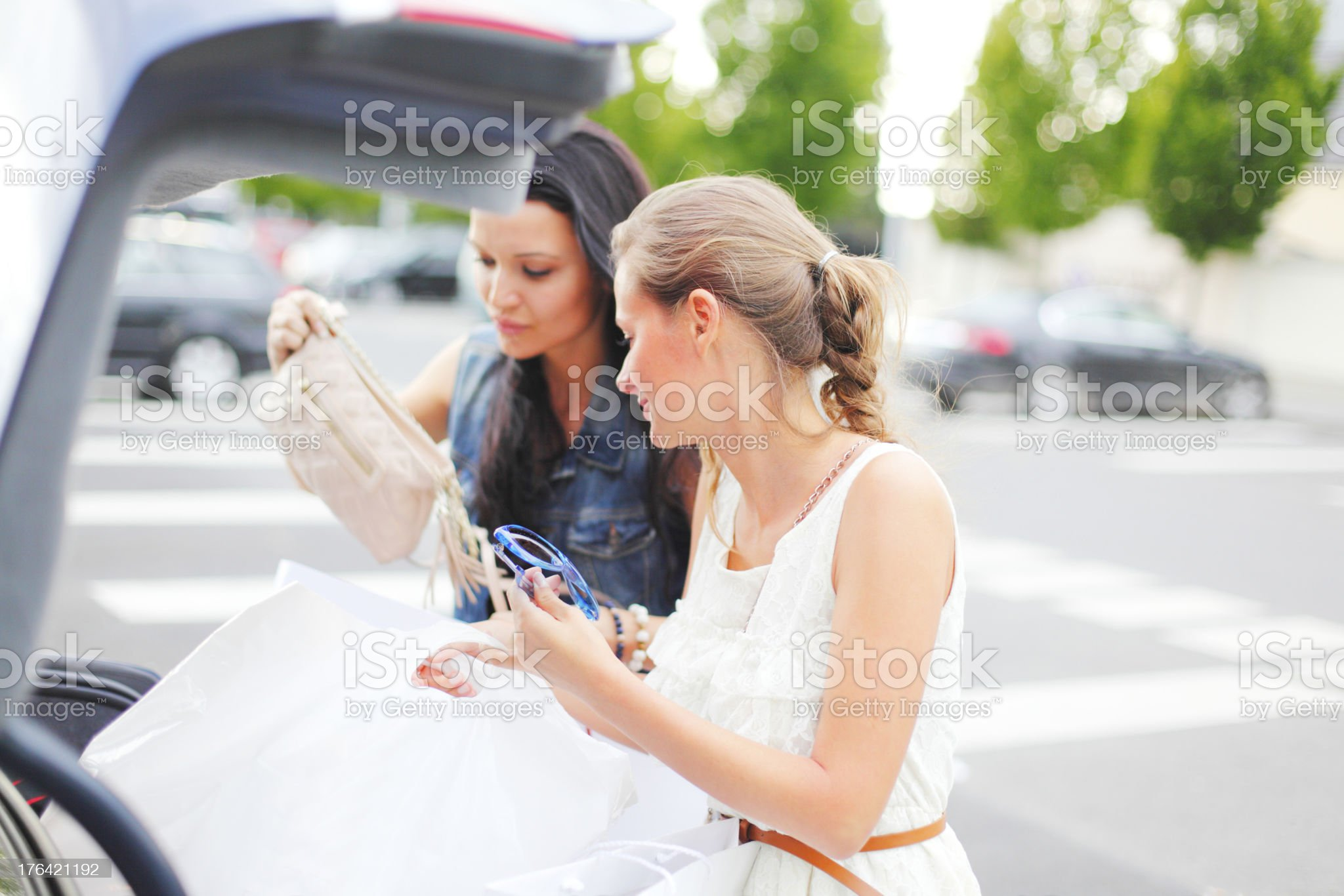Two woman after shopping royalty-free stock photo