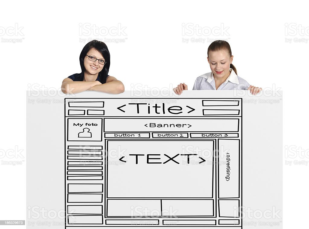two woman and template website royalty-free stock photo