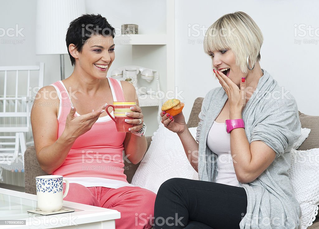 two woman friends chating royalty-free stock photo