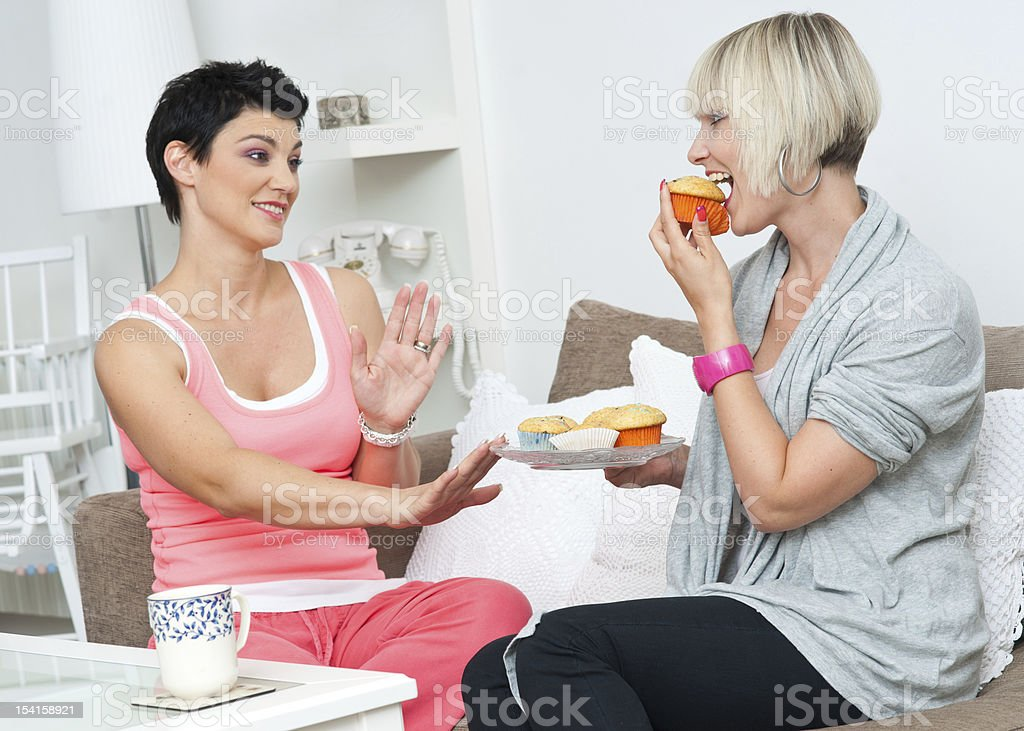 two woman friends stock photo