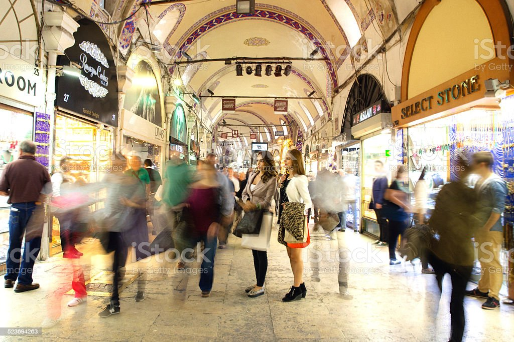 Two Woman Going Shopping At The Grand Bazaar. Istanbul, Turkey, stock photo