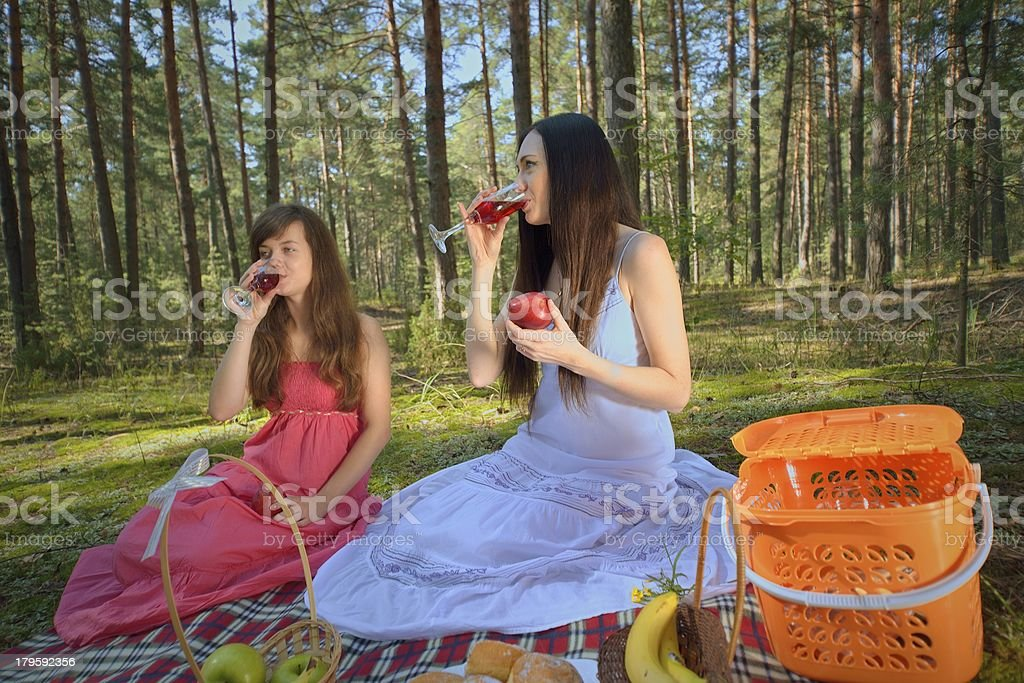 Two woman relax on picnic royalty-free stock photo