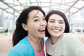 two woman selfie in hongkong