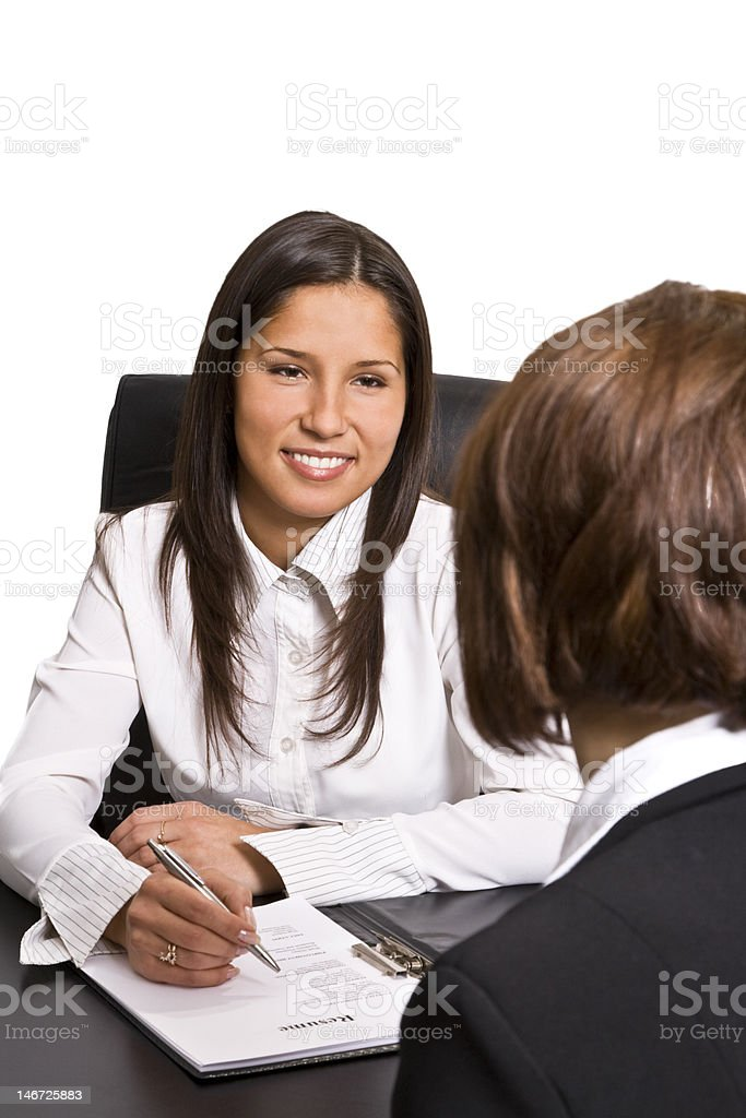 Two women conducting a job interview royalty-free stock photo