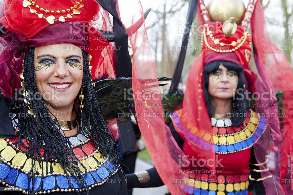 Two women dressed in ancient egyptian style at Fanatsy Fair royalty-free stock photo