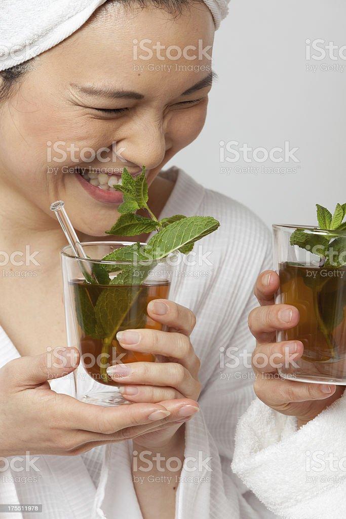 Two women drinking tea stock photo