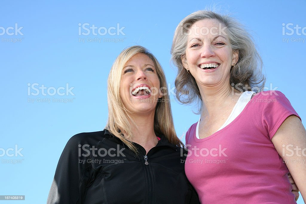 Two Women Enjoying A Spring Day Together stock photo