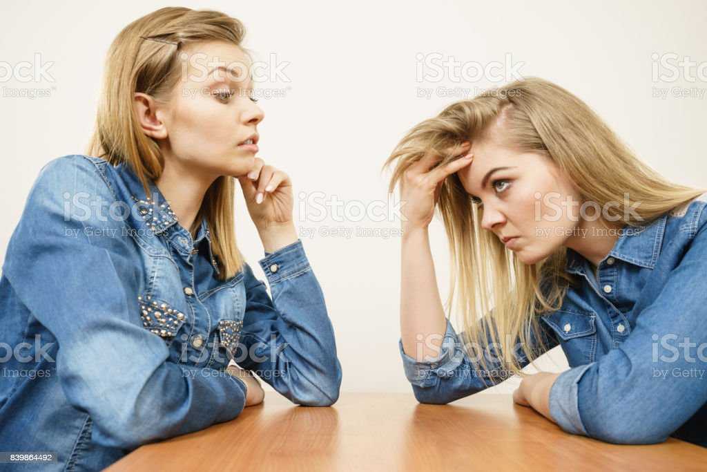 Two women having argue fight stock photo