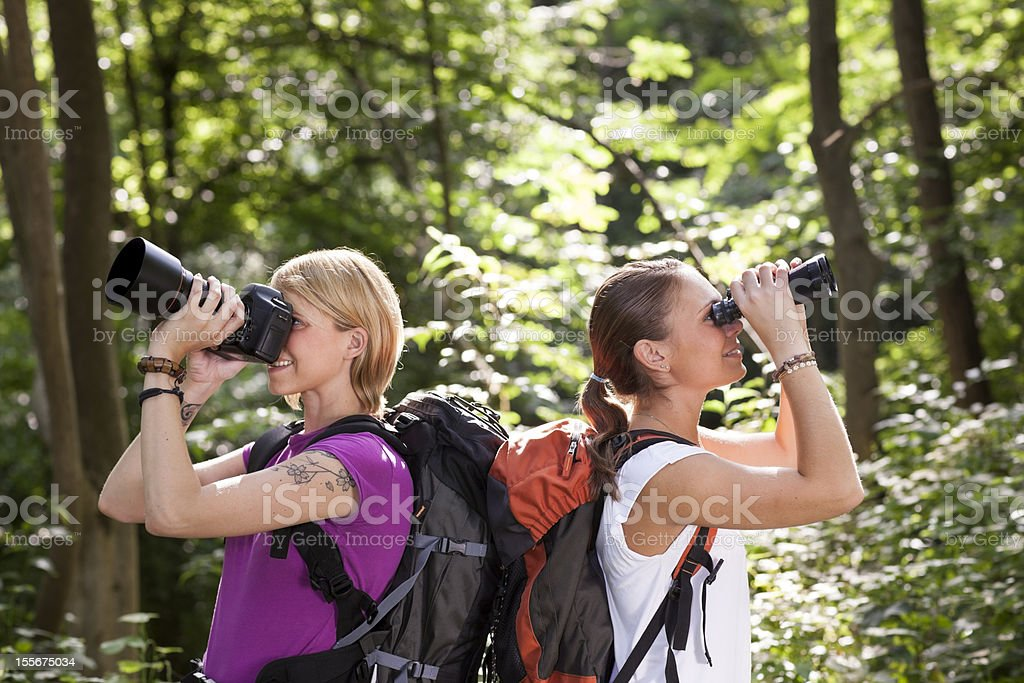 two women hiking in forest and looking with binoculars stock photo