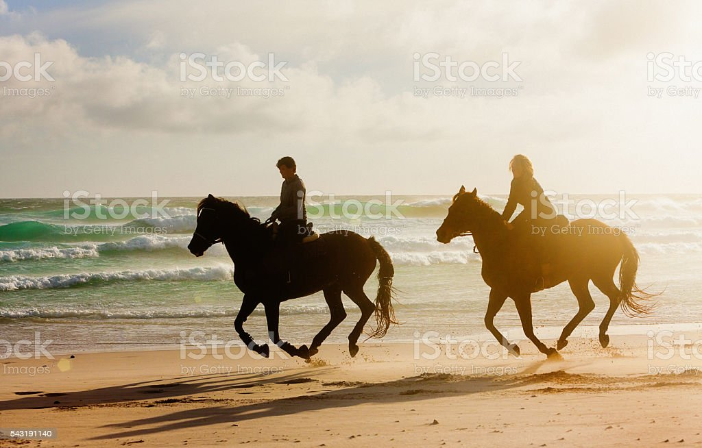 Two women horseriders galloping along wintry beach, almost in silhouette stock photo