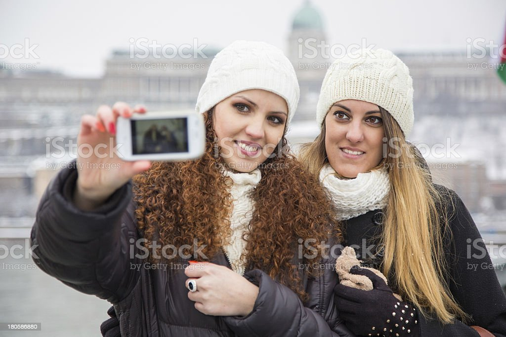 Two Women in Budapest on Winter royalty-free stock photo