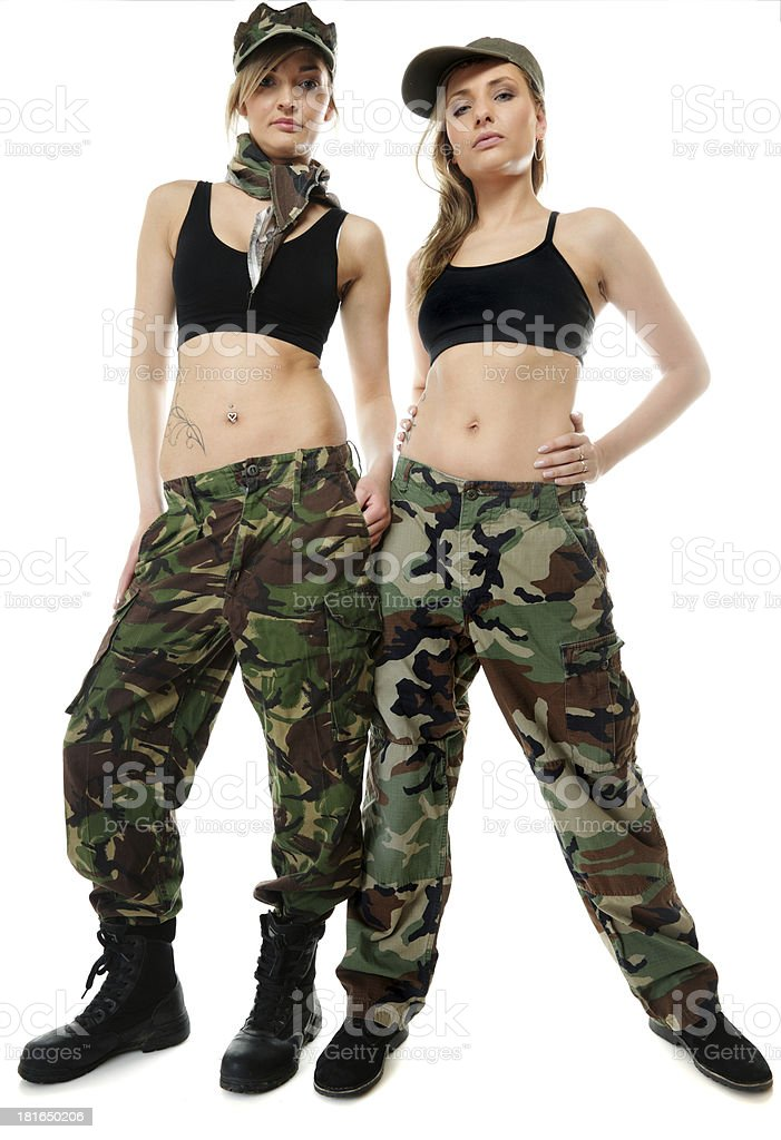 Two women in military clothes, army girls royalty-free stock photo