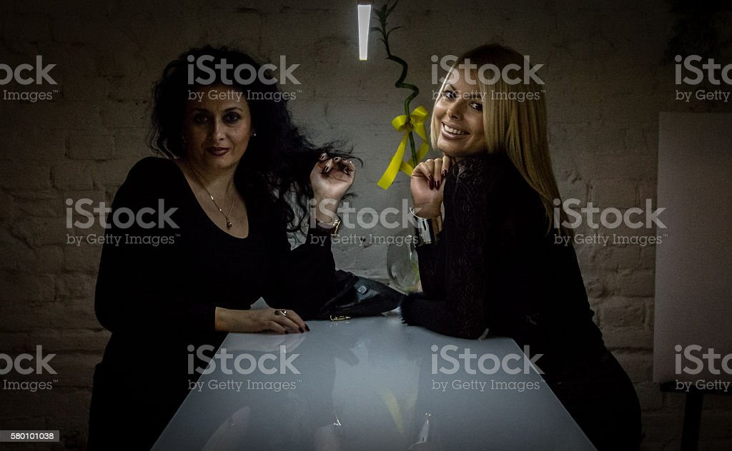 Two women in office stock photo