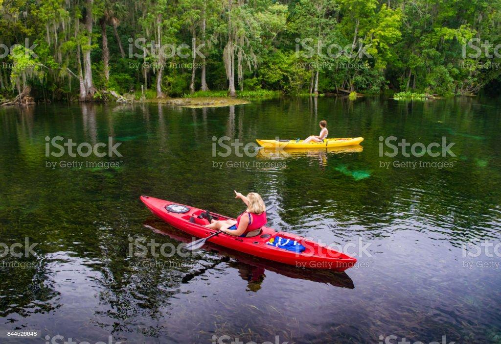 Two Women Kayaking in Florida Spring stock photo