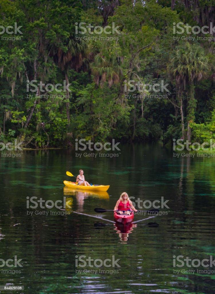 Two Women Kayaking stock photo
