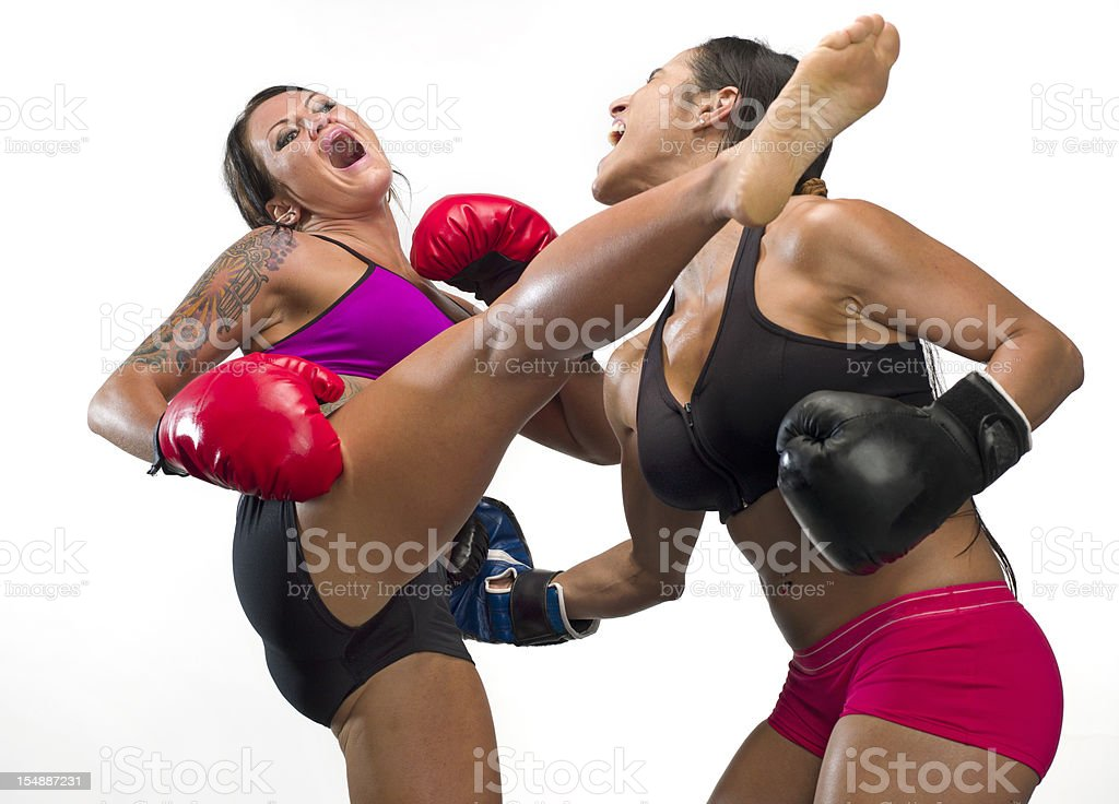 two women kickboxing royalty-free stock photo