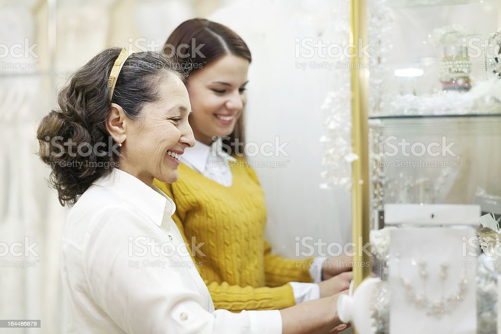 Two women  looks bridal accessories stock photo