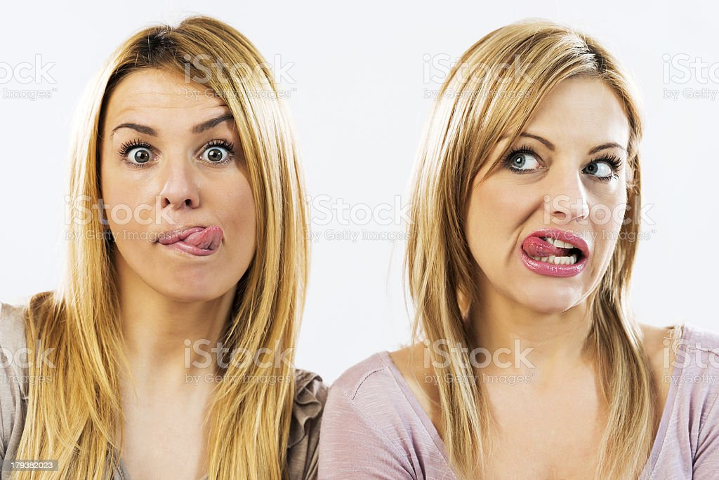 Two women making a face. royalty-free stock photo