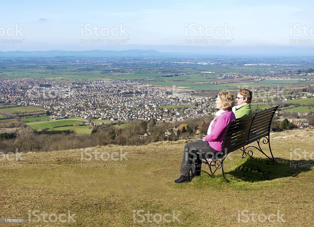 Two Women On A Bench royalty-free stock photo