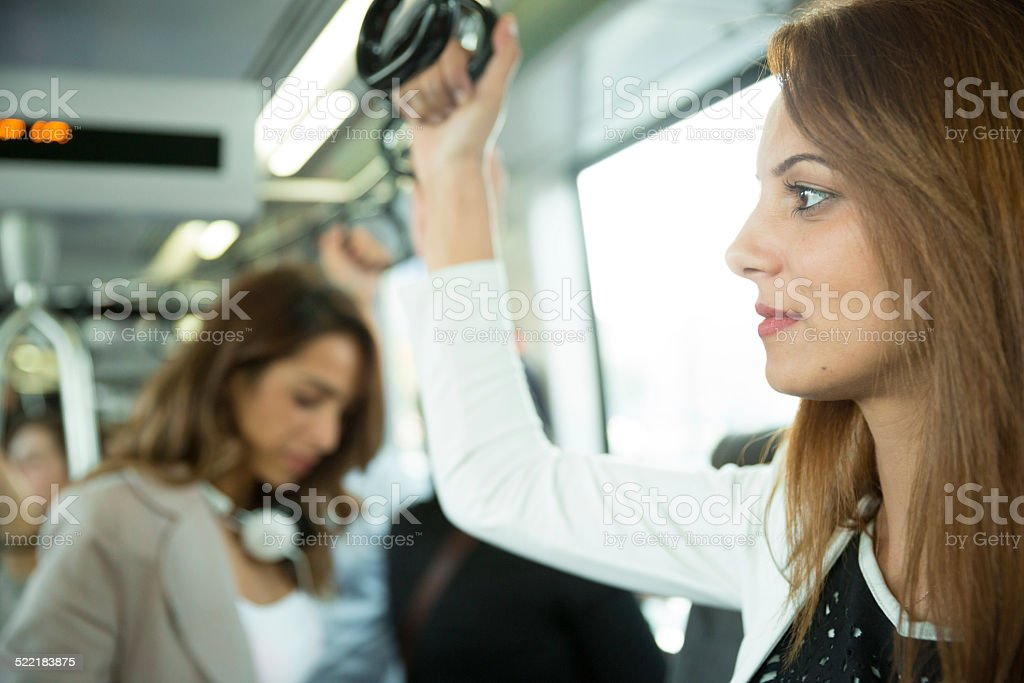 Two Women On The Bus stock photo