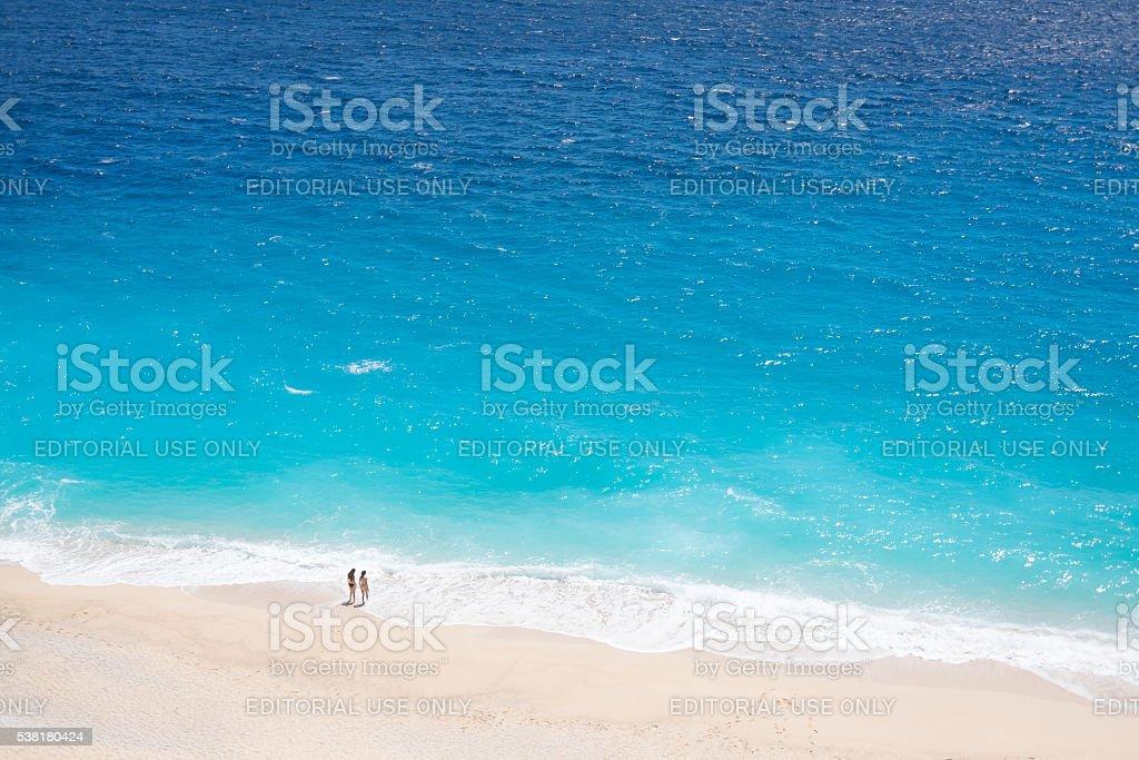 Two women on the Kaputas beach stock photo