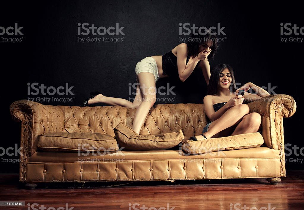 Two women posing stock photo